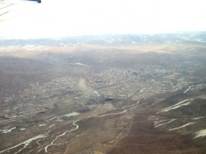 Part of Ulanbaatar as seen from the airplane window